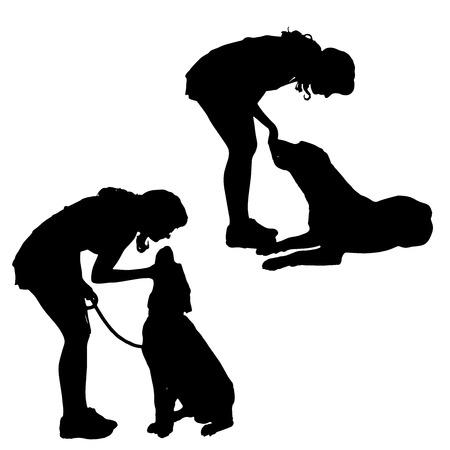 siluetas de animales: Vector silueta de una mujer con un perro. Vectores