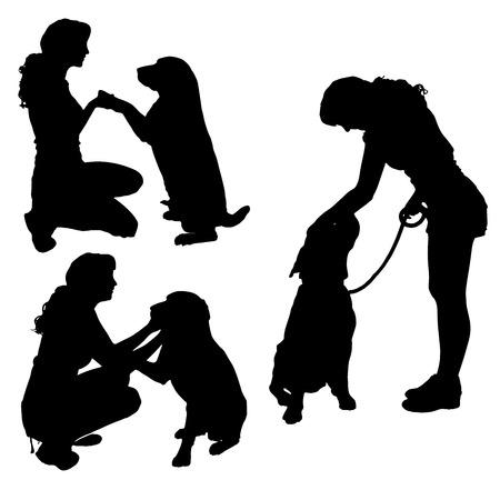 Vektor silhuett av en kvinna med en hund.