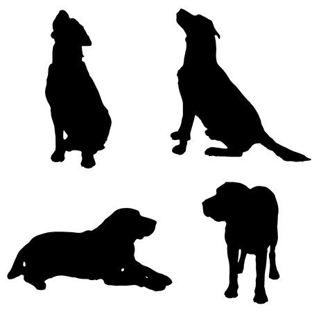 Vector silhouette of a dog on white background. Иллюстрация