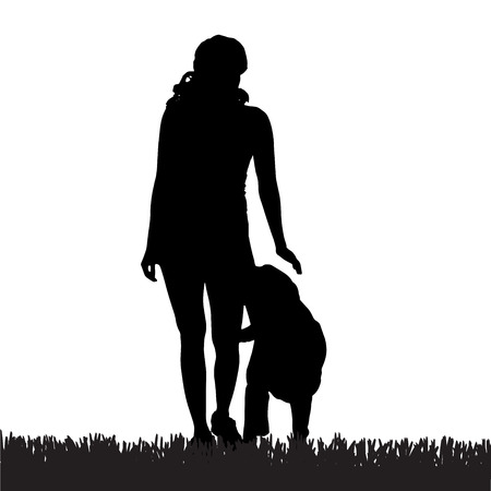 leashes: Vector silhouette of a woman with a dog on a walk. Illustration