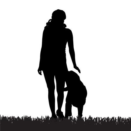 obedience: Vector silueta de una mujer con un perro en un paseo.