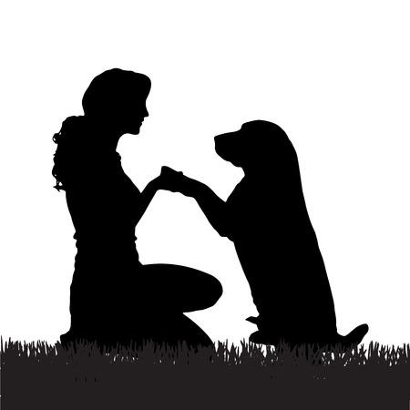 Вектор силуэт женщины с собакой на прогулку.