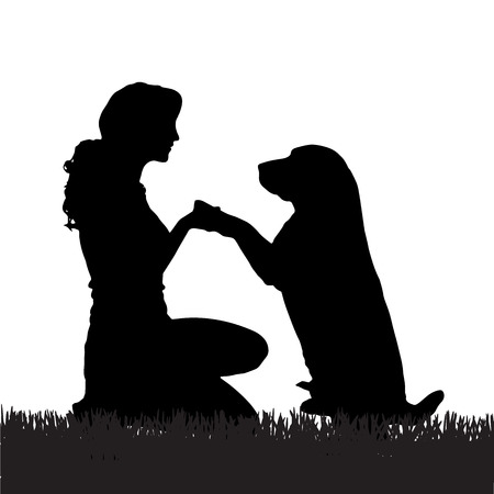 散歩に犬を持つ女性のベクトル シルエット。