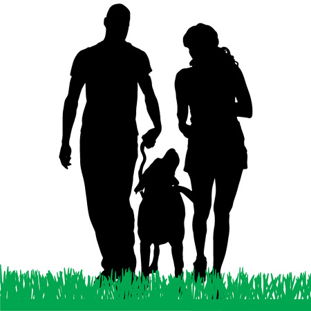 couples outdoors: Vector silhouette of a family with a dog for a walk.