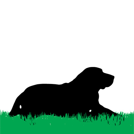 labrador puppy: Vector silhouette of a dog lying on the grass.