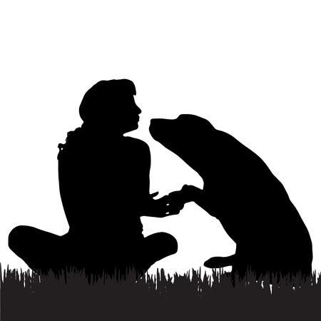 Vector silueta de una mujer con un perro en un paseo.