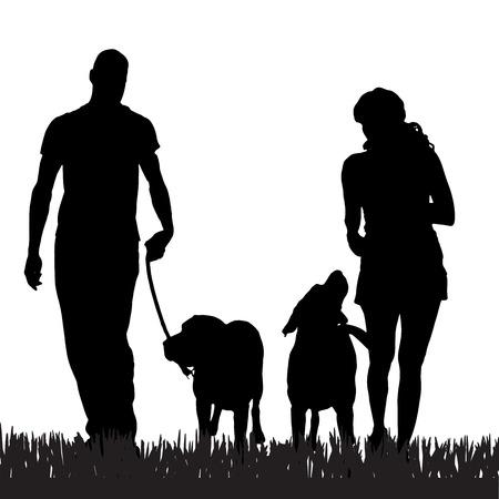 犬の散歩を持つ家族のベクトル シルエット。
