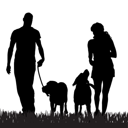 people and nature: Vector silhouette of a family with a dog for a walk.