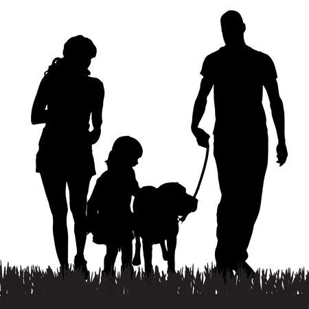 산책 강아지와 함께 가족의 벡터 실루엣.