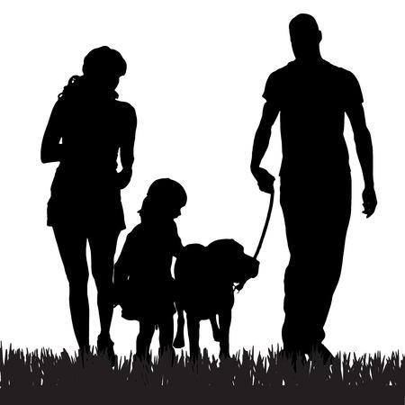 niños caminando: Vector silueta de una familia con un perro para una caminata.