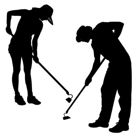 Vector silhouette di un giardiniere su sfondo bianco. Archivio Fotografico - 26424388