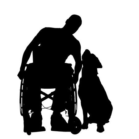 Vector silhouetten van mensen in een rolstoel op een witte achtergrond.