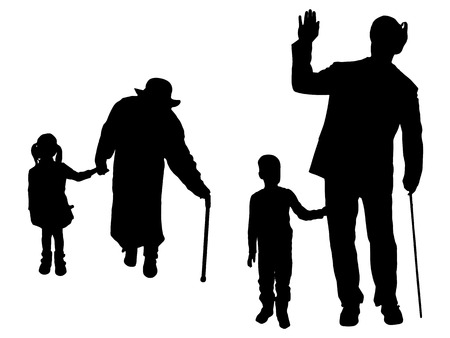 old couple walking: Vector silhouette of family on white background.