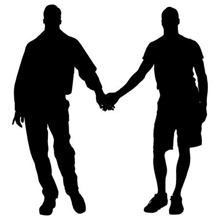 omini bianchi: Vector sagome di uomini che sono gay. Vettoriali
