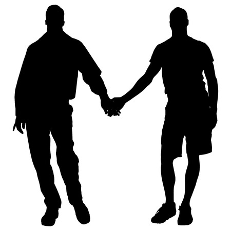 homosexual: Vector silhouettes of men who are gay.