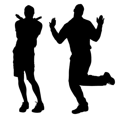 Vector silhouettes of men who are gay. Vector