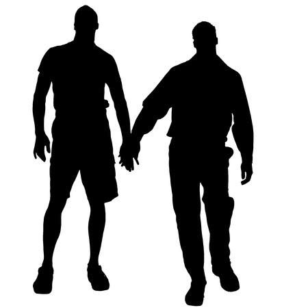sexy young couple: Vector silhouettes of men who are gay.