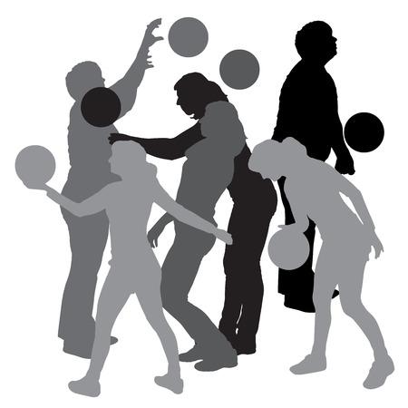 balon de voley: Vector silueta de una mujer que juega con un globo.