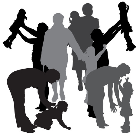 Vector silhouette of a family on a white background.