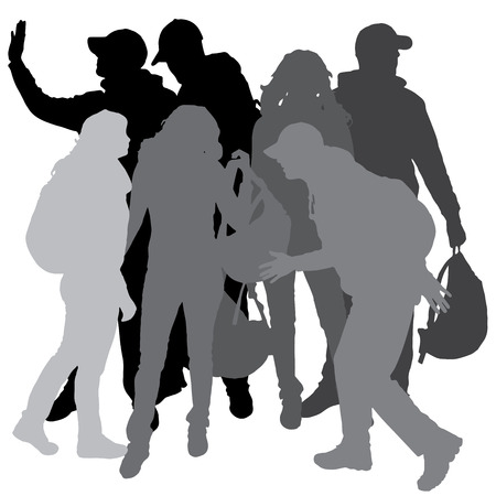 student travel: Vector silhouette of people with backpacks on a white background. Illustration