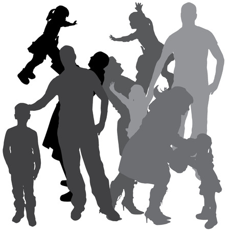 Vector silhouette of a family on a white background. Stock Vector - 26698144