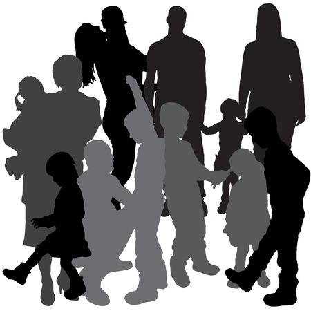 doughter: Vector silhouette of a family on a white background.