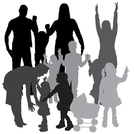 Vector silhouette of a family on a white background. Stock Vector - 26698149