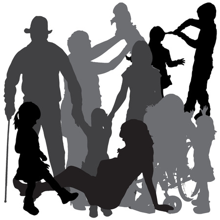 Vector silhouette of a family on a white background. Vector