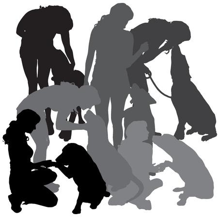 schattenbilder tiere: Vector Silhouette einer Frau mit einem Hund auf einem wei�en Hintergrund. Illustration