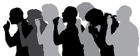 Vector silhouette of people in different situations. Vector