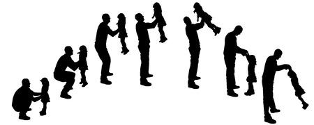 Vector silhouet van mensen die op een witte achtergrond dansen. Stock Illustratie