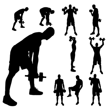 strengthening: Vector silhouette of a man who trains with dumbbells.
