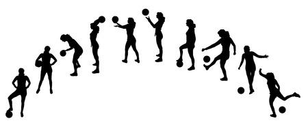 balon voleibol: Vector silueta de una mujer que juega con un globo.