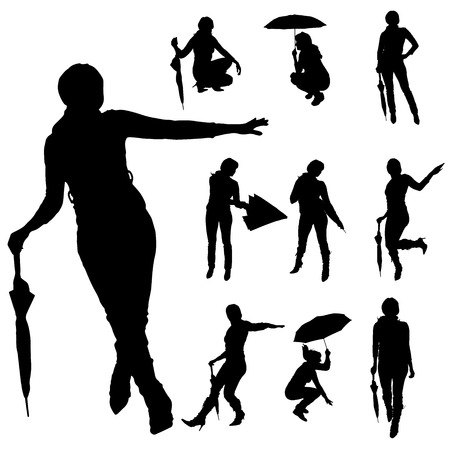 sexy umbrella: Vector silhouette of woman on a white background.