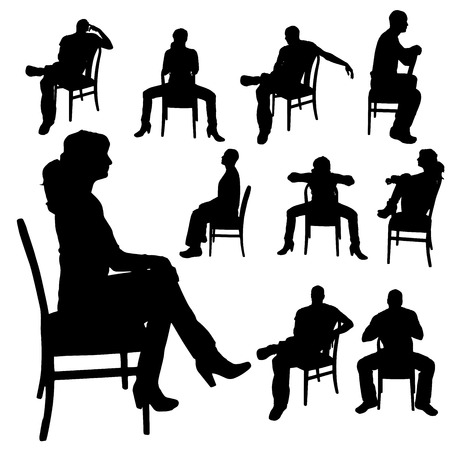 Vector silhouette of a woman who is sitting on a chair on a white background.  Illustration