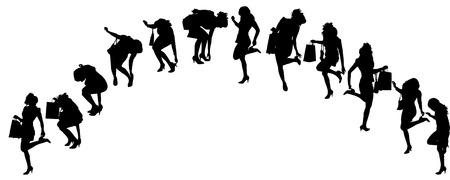 accident woman: Vector siluetas de mujeres en varias poses sobre un fondo blanco.