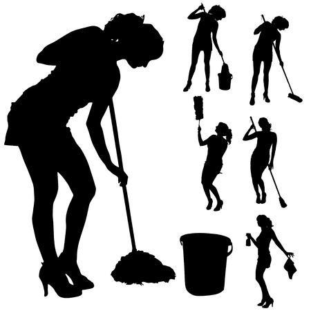 young lady: Vector silhouette of a cleaning lady on a white background.
