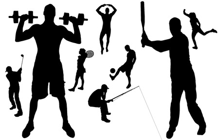 Vector silhouette of people in various sports.  Vector