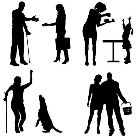 Vector silhouettes of people in different situations. Vector