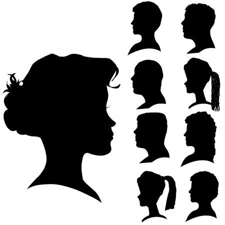 Vector siluetas de las distintas caras de perfil.