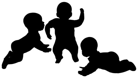 Vector silhouette of a toddler on a white background.
