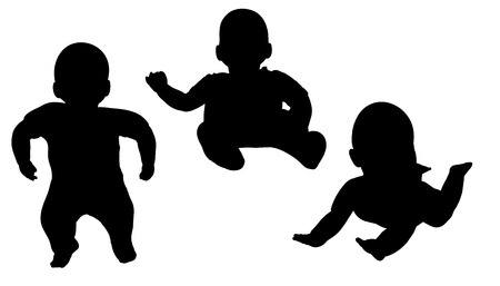 Vector silhouette of a toddler on a white background.  Vector