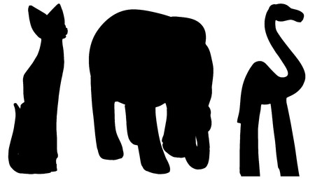 Vector silhouettes of various animals on white background.  Vector