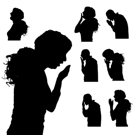 black woman: Vector silhouette of people in different situations.