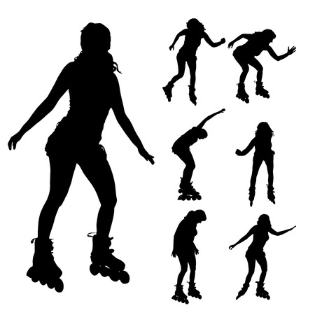roller skating: Vector silhouette of a woman on roller skates. on roller skates.