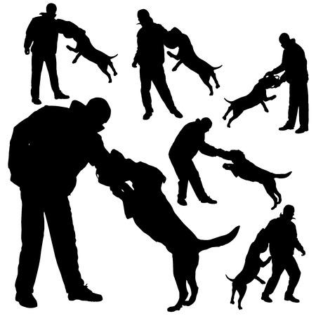 perro policia: Vector silueta de un hombre en perro practicante defensa.