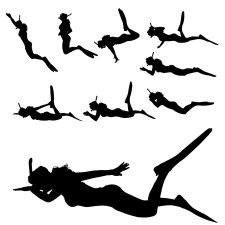 flippers: Vector silhouette of a woman with flippers and a snorkel.