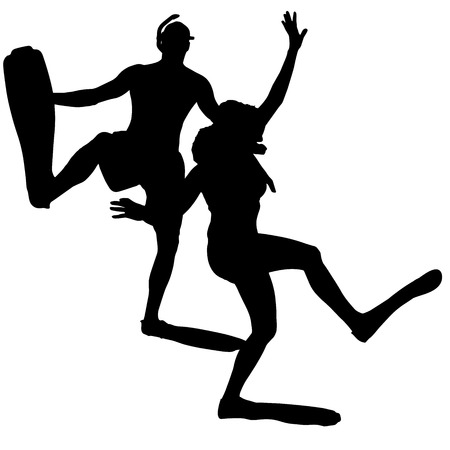 flippers: Vector silhouette of a people with flippers and a snorkel. Illustration