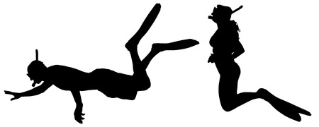 Vector silhouette of a people with flippers and a snorkel. Illustration
