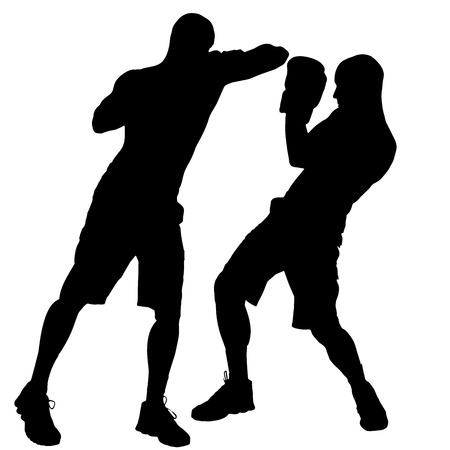 wrestle: Vector silhouette of a man who boxes. Illustration